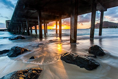 Sunrise behind the Makai Research Pier in Waimanalo, Oahu, Hawaii print picture photo photograph fine art by Mike Krzywonski Photography