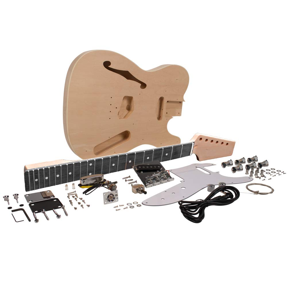 Seismic Audio - SADIYG-06 - Premium DIY Traditional Semi-Hollow Electric Guitar Kit with F Hole - Unfinished Luthier Project Guitar Kit