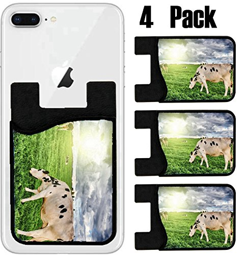 MSD Phone Card holder, sleeve/wallet for iPhone Samsung Android and all smartphones with removable microfiber screen cleaner Silicone card Caddy(4 Pack) IMAGE ID 36977630 Herd of cows grazing at summe by MSD