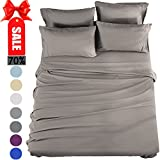 How Long Is a California King Size Bed Bed Sheets Set California King Sheets Microfiber Super Soft 1800 Thread Count Luxury Egyptian Sheets 16-Inch Deep Pocket Wrinkle Fade and Hypoallergenic - 6 Piece (Grey) - Sonoro Kate