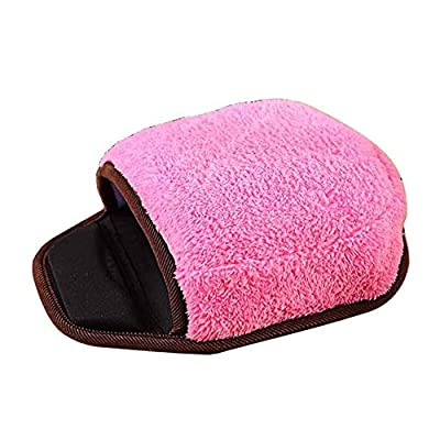 EnjoCho Winter Warm Mouse Pad Thick Pink Plush Hand Warmer Heated Mouse Mat USB Port with Wristguard
