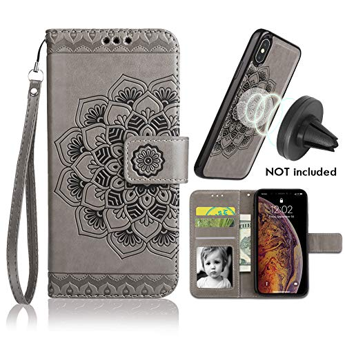 iPhone Xs Max Case, Xs Max Wallet Case with Detachable Slim Case,Card Solts Holder, Fit Car Mount,CASEOWL Mandala Flower Floral Embossed Vegan Leather Flip Lanyard Wallet Case for iPhone Xs Max-Gray