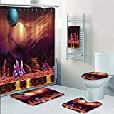 Bathroom 5 Piece Set shower curtain 3d print Multi Style,Fantasy House Decor,Fantasy Spot with Golden River in Mars with Nebula and Other Planets Solar Zodiac Theme,Multi,Bath Mat,Bathroom Carpet Rug,