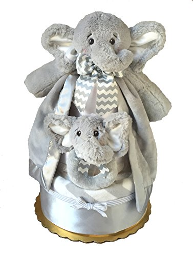Lil' Spout Elephant Diaper Cake - Baby Shower Gift - Baby Gift with Blanket, Snuggler and Baby Rattle