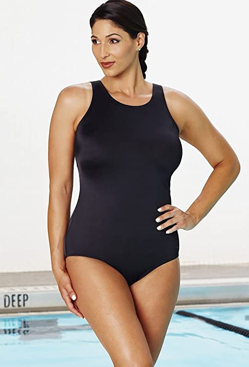 8b81ffb981 Aquabelle Chlorine Resistant! Black High Neck Swimsuit Women S Swimwear -  Black - Size 22  Amazon.co.uk  Clothing. Fashion Bug Womens Plus Size  Poppies ...