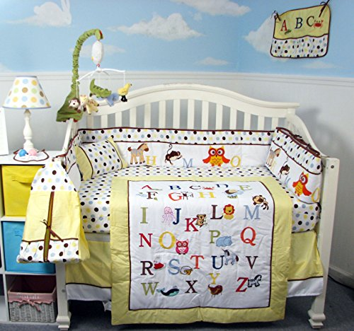 SoHo Girl Alphabet Baby Crib Nursery Bedding Set 13 pcs included Diaper Bag with Changing Pad & Bottle Case ** Spring Special ! **
