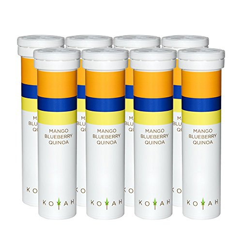 KOYAH - 90 Calorie - Instant Organic Breakfast Smoothie Powder: MANGO BLUEBERRY QUINOA - Freeze-Dried, Whole Food (8 Single Serving Tubes)