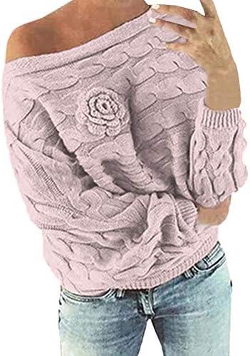Keerads Sweatshirt voor dames lange mouwen gebreide jas meerkleurig met drievoudige bloemen meerkleurigrozeXLarge