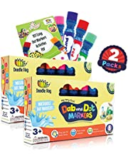 WASHABLE   Dab and Dot Markers   8 Colors Pack Set   Fun Art Supplies for kids and preschoolers   Includes 200+ Fun Downloadable Coloring Sheets   Preschool Arts and Craft (Double Pack (8 Colors))