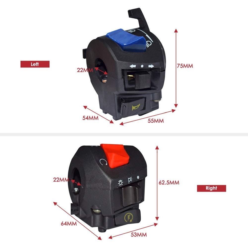 Alta calidad Piezas de reparaci/ón 7//822 mm Universal Motocicleta Interruptor Interruptor Cuerno Se/ñal de giro Faro principal Encendido Interruptores de potencia Ensamblaje Para Pit Bike Dirt ATV