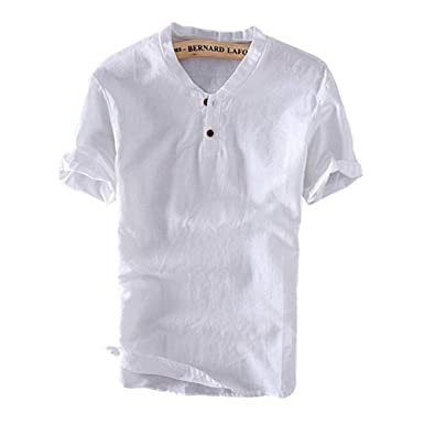b005bf90e49 Men s Summer Casual Linen Henley T-Shirt Vintage V Neck Short Sleeve Shirts  at Amazon Men s Clothing store