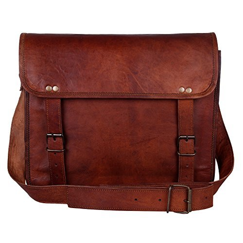 Leather Vintage Rustic Crossbody Messenger Courier Satchel Bag Gift Men Women ~ Business Work Briefcase Carry Laptop Computer Book Handmade Rugged & Distressed ~ Everyday Office College (15 Inch)