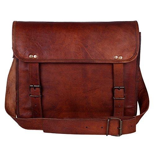 Rustic Town 15'' Genuine Leather Handmade Crossbody Messenger Satchel Laptop Bag by RusticTown (Image #1)