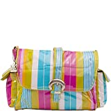 Kalencom Laminated Buckle Diaper Bag (Paradise Stripes Aqua)