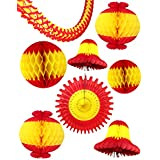 Set of 8 Chinese New Year Red and Yellow Large Honeycomb Party Decorations