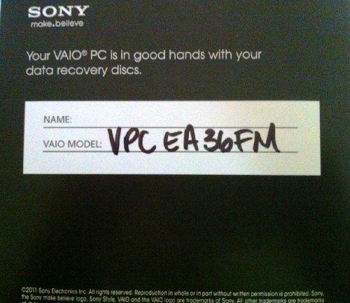 - Sony Vaio VPCEA36FM system restore disks