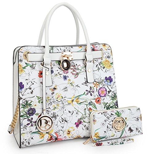 Marco Collection Women's Fashion Pad-lock Satchel handbags with wallet(2553)~Designer Purse for Women ~Multi Pocket ~ Beautiful Designer Handbag Set(02-2553w-white Floral)