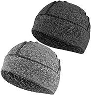 EINSKEY Cotton Beanie Hat, 2-Pack Unisex Running Skull Cap Winter Summer Sports Hat Sleep Cap Chemo Cap