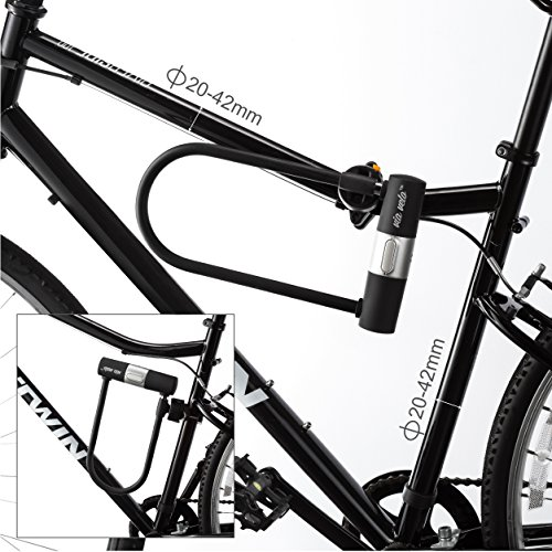 Via Velo Bike U Lock with Strong Cable Heavy Duty Bicycle U Lock Shackle 15mm with 3 Keys and Weatherproof Shock Lock Set, Bike Tire Lock for Road Bike Mountain Bike Electric Bike Folding Bike by Via Velo (Image #6)