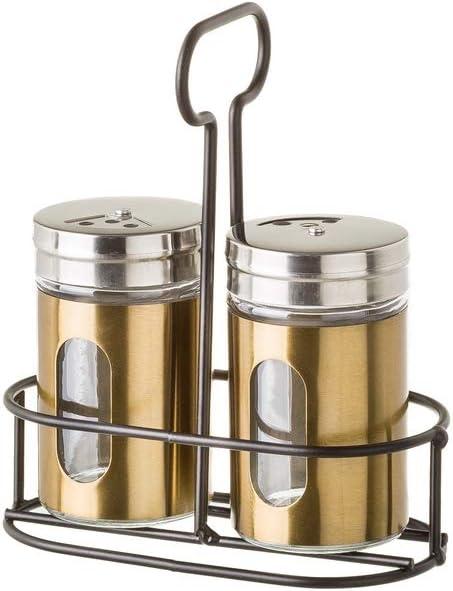 Salero de mesa de acero inoxidable y cristal dorada contemporánea ...