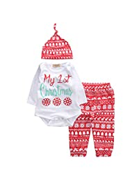 remeo suit Baby Boy Girl My First Christmas Outfit Letter Romper Elk Pant with Knotted Hat Set