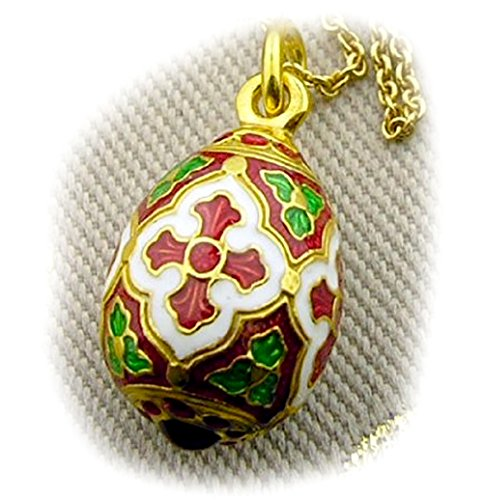 - Sterling Silver 925 Gold Tone Russian Egg Pendant Cross 7/8 Inch
