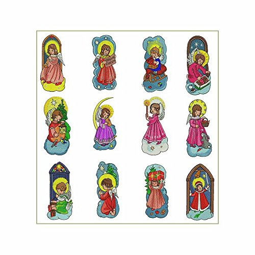 ABC Machine Embroidery Designs Set - Christmas Angels - 12 Designs, 5