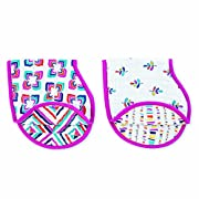 "aden + anais Burpy Bib, 100% Cotton Muslin, Soft Absorbent 4 Layers, Multi-Use Burp Cloth and Bib, 22.5"" X 11"", 2 Pack, Night Sky Reverie, Elephants and Hot Air Balloons"