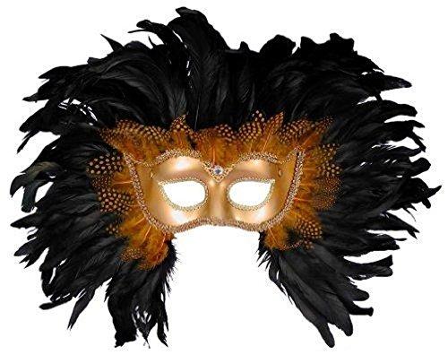 Forum Elaborate Feather Venetian Mask, Gold/Black, One (Black And Gold Mardi Gras Mask)