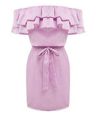 Las mujeres vestidos de verano de hombro vestido de volantes de rayas con cinturón Mini Vestido del Playa Fiesta Pink