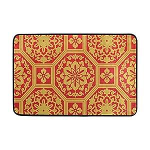 Alfombrillas de puerta PLAO naranja estilo retro, antideslizantes, alfombra de entrada, alfombra de suelo ligera, para interiores y exteriores, alfombrillas para decoración de patio en casa de 60 x 40 cm