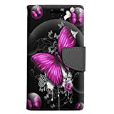 Motorola Droid Turbo 2 Wallet Case - Highlighted Butterfly Pink on Black Case