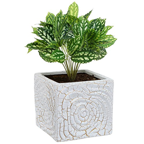 MyGift 6 Inch Decorative Spiral Design Square White Ceramic Plant Flower Container Pot/Windowsill Planter