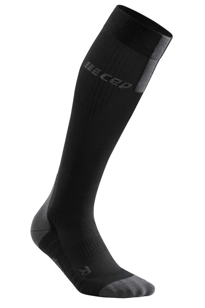 Men's Compression Run Socks - CEP Tall Socks 3.0, Black/Dark Grey III