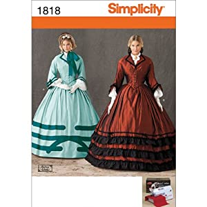 Steampunk Sewing Patterns- Dresses, Coats, Plus Sizes, Men's Patterns Simplicity 1818 Misses Costume Sewing Pattern Size U5 (16-18-20-22-24) $6.95 AT vintagedancer.com