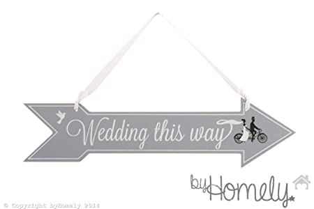 Wedding This Way\' Grey Wooden Hanging Sign Decoration - Double Sided ...