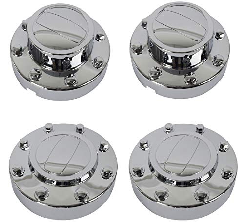 KARPAL 2 Front and 2 Rear Chrome Wheel Center Hub Cap DRW Compatible With 2011-2018 Ram 3500