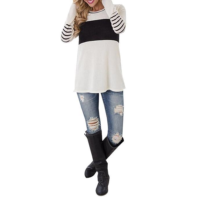 Blusa Estallada De Mujer De Moda 2017 Con Coderas A Rayas Color Blocked Cuello Redondo (