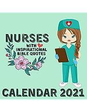 Nurses Calendar 2021: With Bible Inspirational Quotes January 2021 - December 2021 Square Illustration Book Monthly Planner Desk Calendar