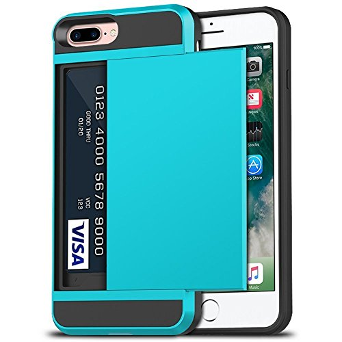 iPhone 7 Plus Case, iPhone 8 Plus Case, Anuck Shockproof iPhone 7/8 Plus Wallet Case [Card Pocket][Slide Cover] Anti-scratch Protective Shell Armor Rubber Bumper Case with Card Slot Holder -Light Blue