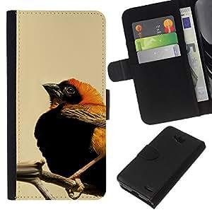 YiPhone /// Tirón de la caja Cartera de cuero con ranuras para tarjetas - Anaranjado lindo y el pájaro Negro - LG OPTIMUS L90