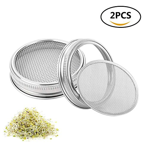 "2 Jar Pack - Sproutings Lid Set for Growing Seeds Stainless Steel Sprouting Lid Kit for Wide Mouth Mason Jars(3/8"") Kitchen Tool for Healthy Diet Pack of 2"