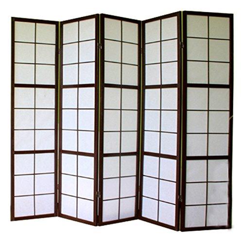 D/écoshop26 Paravent 5 Panneaux pans en Bois Noir et Papier Riz 175x220cm PAR06039