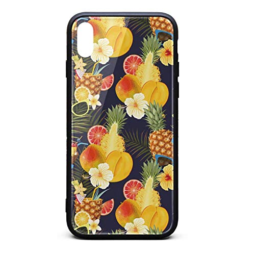 (Coconut Pineapple with Glasses Phone Case for iPhone X/XSTPU Protective Cool Anti-Scratch Fashionable Glossy Anti Slip Thin Shockproof Soft Case )