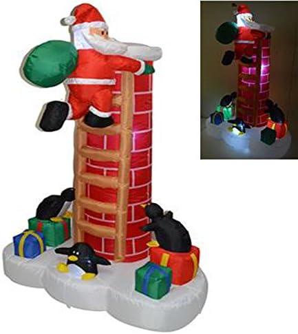 Papá Noel Navidad con escalera sobre Chimenea con luz hinchable 180 cm corriente regalos nieve: Amazon.es: Hogar