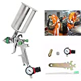 2.5mm HVLP Spray Auto Paint Tool Gravity Feed Spray Gun Metal Flake Primer Nozzle with Gauge