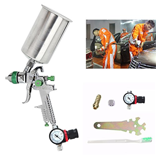 2.5mm HVLP Spray Auto Paint Tool Gravity Feed Spray Gun Metal Flake Primer Nozzle with Gauge by SPK603