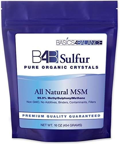 B4B Sulfur Organic Crystals, Pure MSM Powder Supplement, 1 Pound (16 oz.) Bag