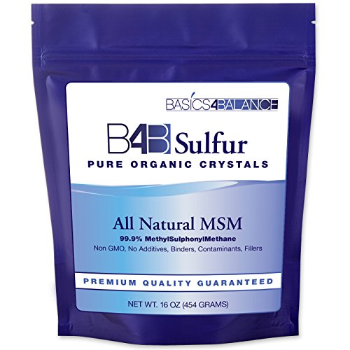 B4B Sulfur Organic Crystals, Pure MSM Powder Supplement, 1 Pound (16 oz.) Bag