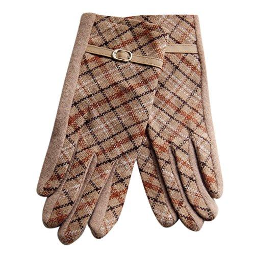 Liebeye ウール手袋 五本指 カラフル チェック柄 女性 大人 屋外 防風手袋 秋 冬 フリーサイズ